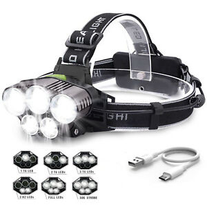 90000LM-5X-XML-T6-LED-Headlamp-Rechargeable-Head-Light-Flashlight-Torch-Lamp-HOT