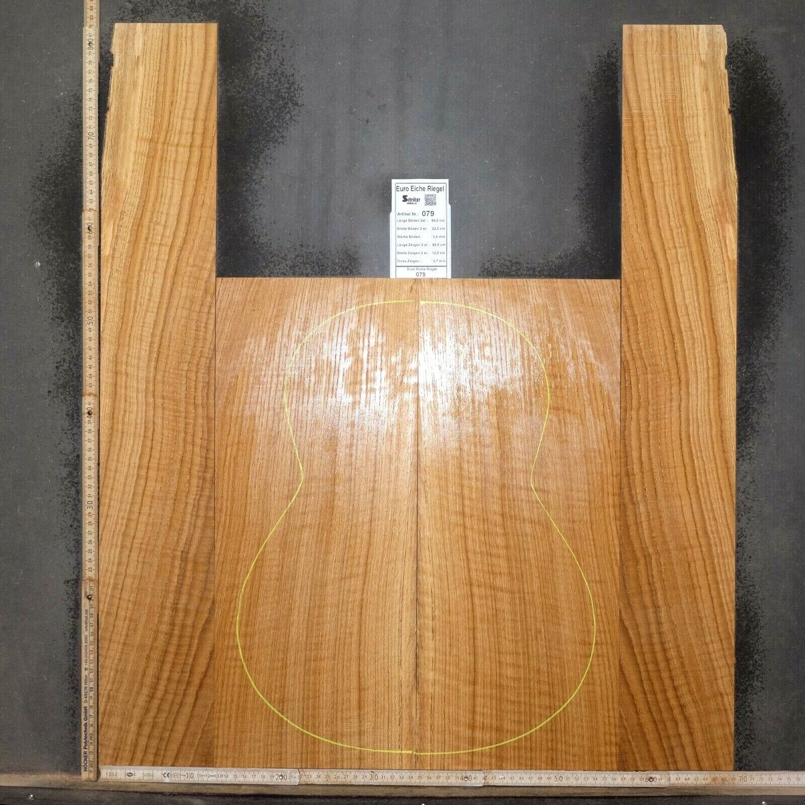 Tonewood Curly Quercia Oak Guitar Luthier Tonholz Acoustic backs and side Set 79