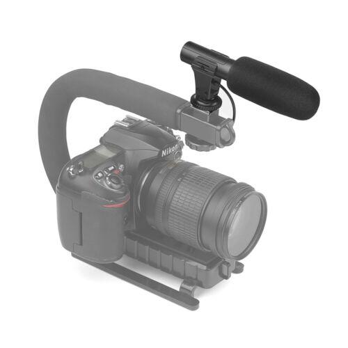 Micrófono Condensador Estéreo Videocámara disparar para Cámara DSLR Nikon Canon Sony