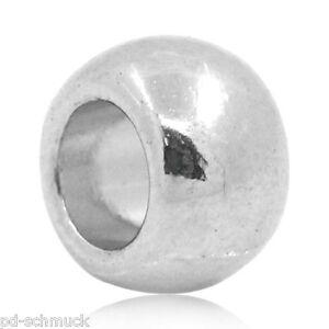 100 Antik Silber Rund Spacer Metallperlen Zwischenperlen Schmuckteile 10x8.5mm