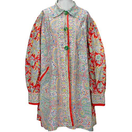 30s Art Deco Cotton Smock Top Shirt Tropical Flora