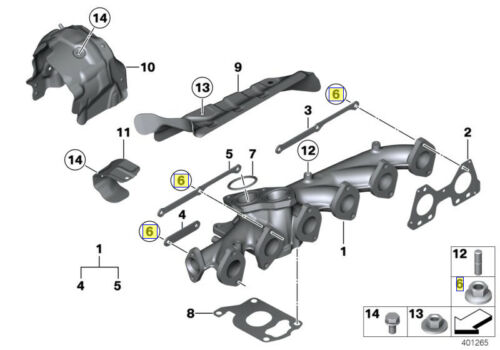 BMW Système d/'échappement bride 10 mm Hex Tête Écrou M7 x 1.00 mm 11628597827