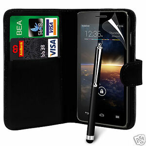 Black-PU-Leather-Wallet-Flip-Case-Cover-Film-amp-Large-Stylus-For-Various-Phones