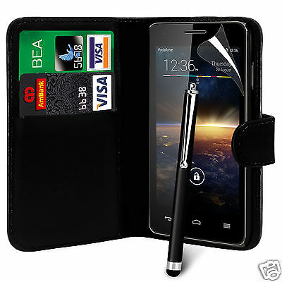 Black PU Leather Wallet Flip Case Cover, Film & Large Stylus For Various Phones