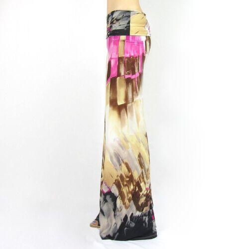 Watercolor print foldover waist palazzo wide leg pants S M L NEW