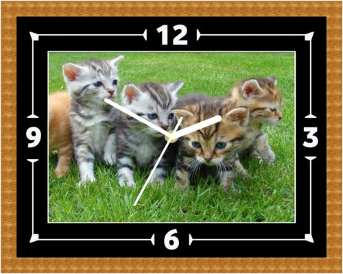 Can Be Personalised Kittens Cat Wall Clock Gift Present Christmas Birthday