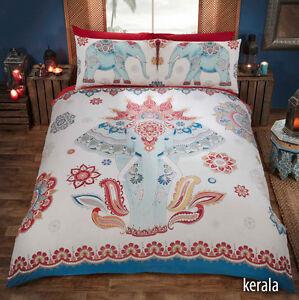 Ethnique-Elephant-Kerala-Imprime-Rouge-Blanc-et-Bleu