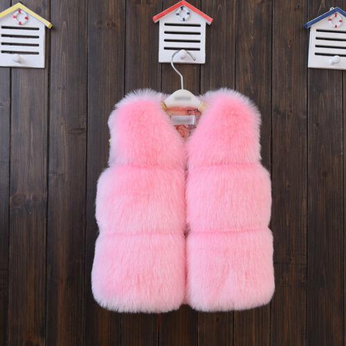 Kids Girls Luxury Faux Fur Vest Thick Warm Gilet Waistcoat Coat Furry Jacket