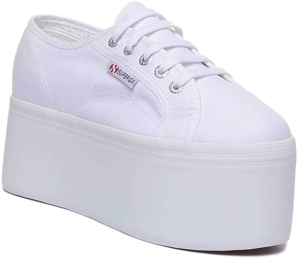 Superga 2802 Cotw Womens High 90s Platform Canvas Trainers White Size