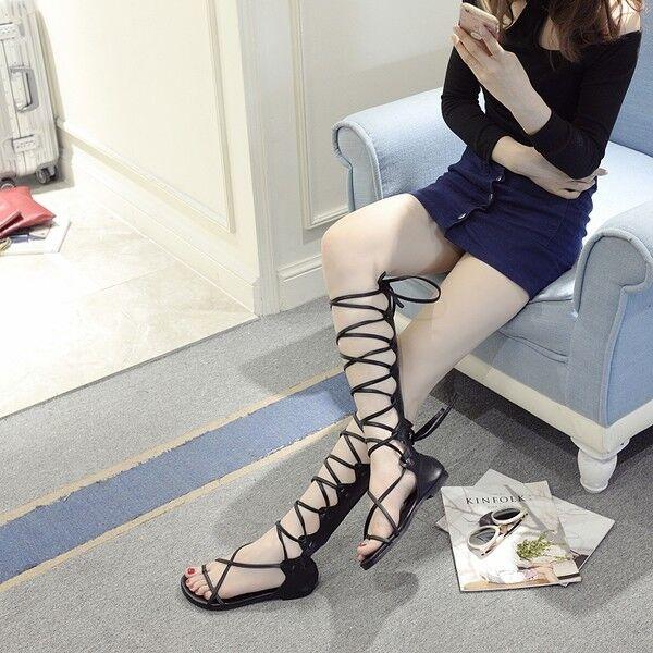 Sandale eleganti  bassi nero gladiatore comodi  simil pelle eleganti 1139