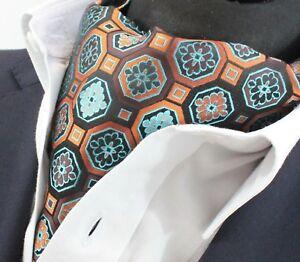 Cravate Ascot Blue & Orange Mosaïque Cravat Assorti Mouchoir.-afficher Le Titre D'origine