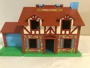 Vintage-Fisher-Price-Little-People-Play-Family-House-Brown-Tudor-952-Extras