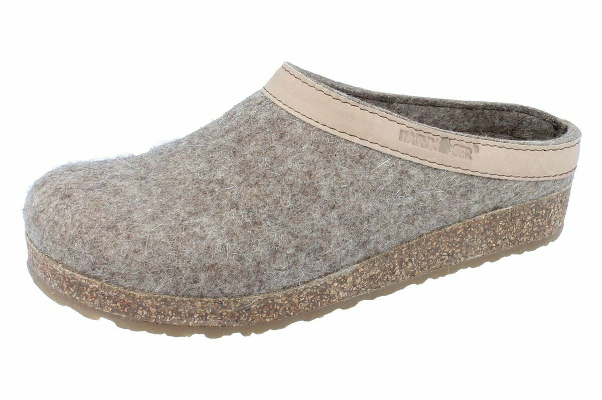 Haflinger Grizzly Torben Slippers Wool Felt Peat NEW