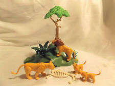 Playmobil Lion Family w/ Landscape Den, Tree, Bones for Zoo, Safari, Ark Animals