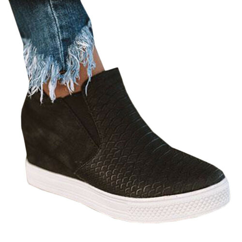 Womens Wedge Hidden Low Heel Sneakers Ankle Boots Trainers Zipper Shoes Size UK