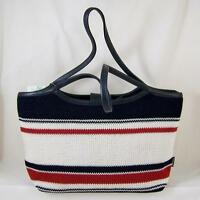 The Sak Anthem Stripe Crochet Knit Tote Handbag Purse Red White & Blue