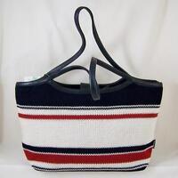 The Sak Anthem Stripe Crochet Knit Tote Handbag Purse Red White & Blue
