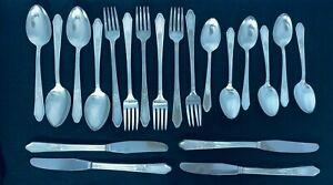 Art-Deco-1933-Rosedale-Triple-Silverplate-Silberbesteck-20-teilig-von-Manor-Platte