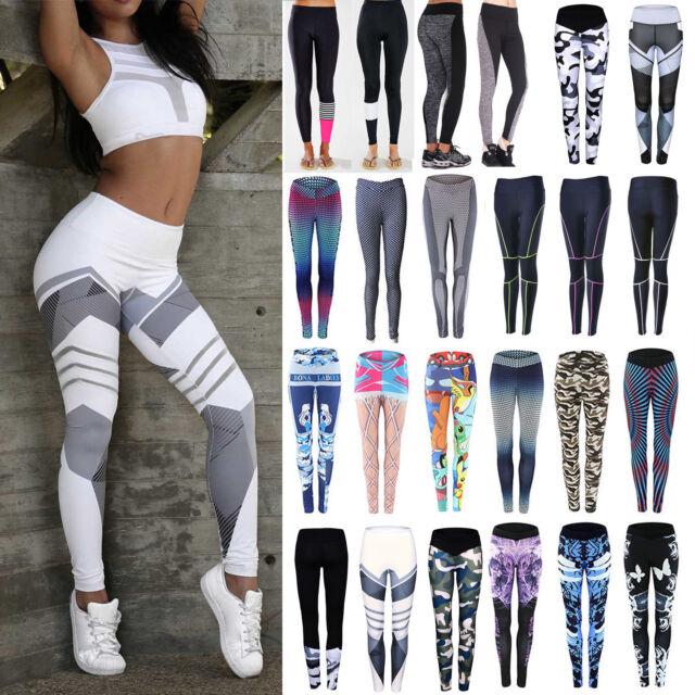 Damen Sporthose Leggings Laufhose Fitnesshose Stretch Jogging Hose GR.34-44 NEU