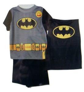 New Boys Shortie Pyjama With Cape Batman All Sizes Available BLACK