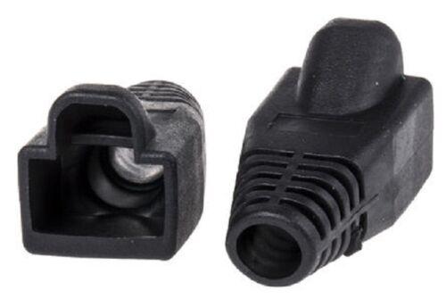 Lot de 50 ajustement facile traction câble noir boot pour RJ45 ethernet conduit