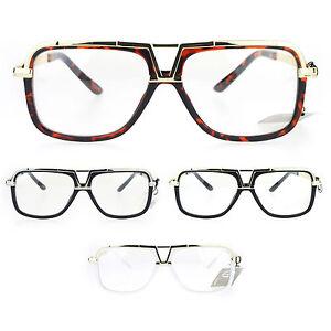 df0881fbc38 SA106 Mens Racer Aviator Retro Hip Hop Rapper Clear Lens Glasses
