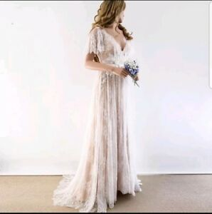 UK-Simple-Bridal-Backless-Short-Sleeve-Lace-A-Line-Beach-Wedding-Dress-Size-6-20