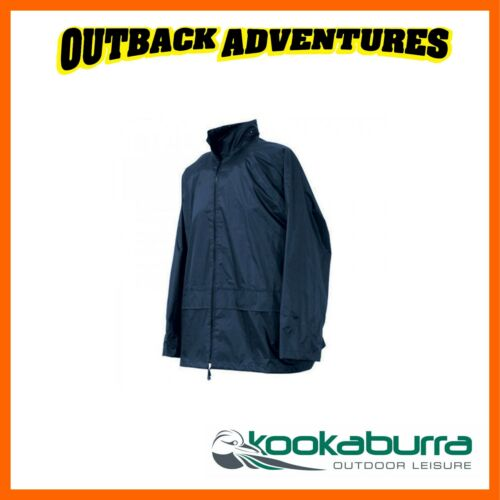 KOOKABURRA WATERPROOF RAIN JACKET COAT MENS XL NAVY HOODED UNI FISHING