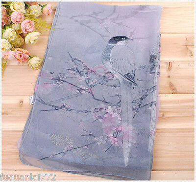 New Women's Birds Flowers Georgette Chiffon Wrap Shawl Beach Silk Scarf