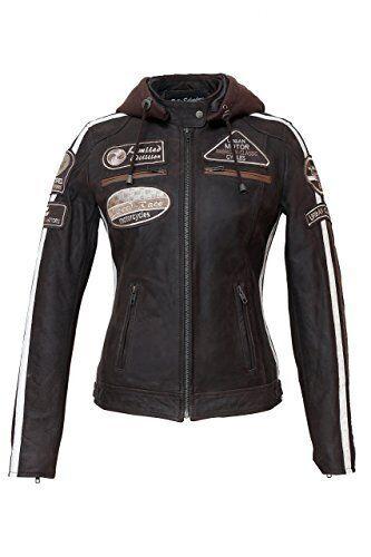 Urban Leather UR-168 58 Giacca Moto da Donna con Imbottitura Protettiva, g7d