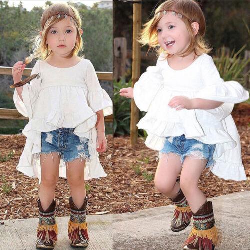 Toddler Kid Baby Girls Outfits Summer Princess Clothes T-shirts Tops Dress Skirt