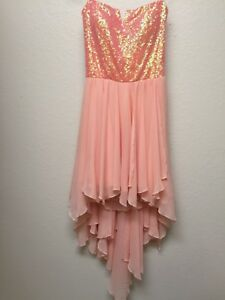 5d33669d4b3 Image is loading As-You-Wish-Sequin-Strapless-High-Low-Formal-