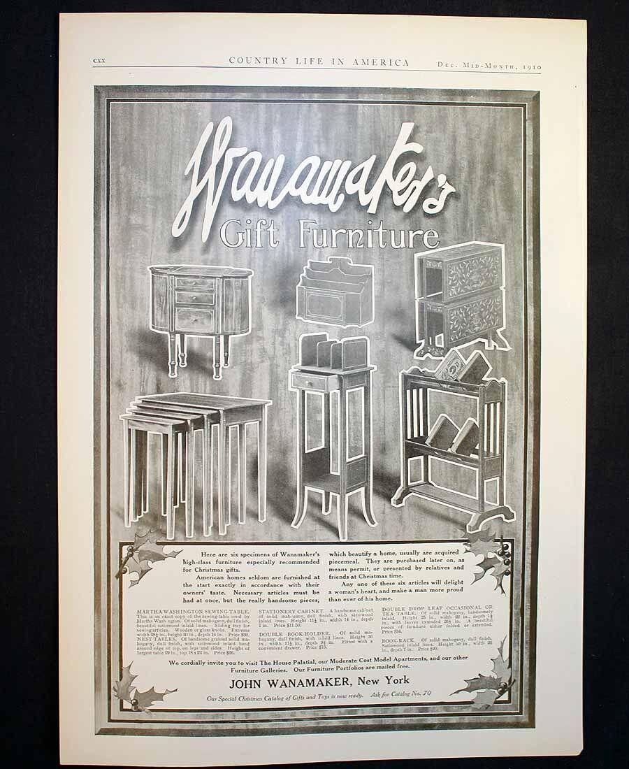 Antique John Wanamaker Furniture New York Ad 1910 Christmas