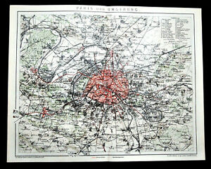 Cartina Di Parigi E Dintorni.1894 Antica Mappa Geografica Mappa Topografica Di Parigi E Dintorni Brockhaus Ebay