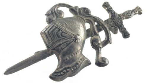 White Metal Sword And Knight Helmet Armor Pinback