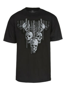 Men-039-s-Hanging-Out-Skulls-in-Chains-Short-Sleeve-T-Shirt-Black