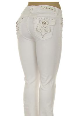 L.A Idol Women Plus Capri Jeans Fluer Rhinestone Flap Back Pocket Stretch