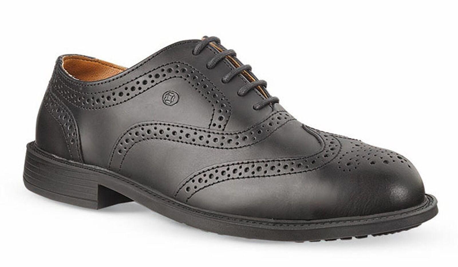 Jallatte Jaloscar JDR01 Mens Black Leather Safety Toecap Brogue Shoes Lace Up