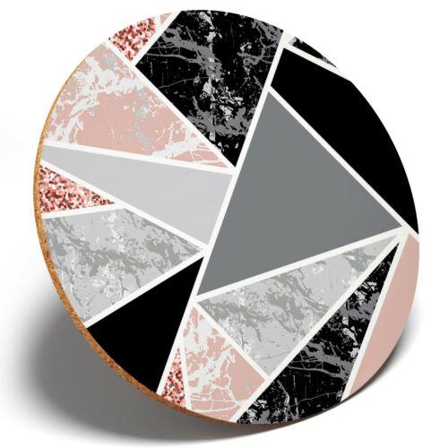 1 x Crazy Geometric Pattern Pink Round Coaster Kitchen Student Kids Gift #2596