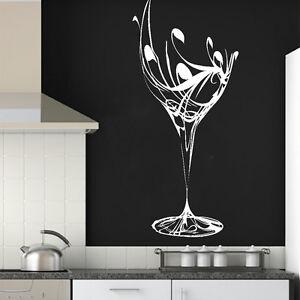 Elegant Wine Glass Wall Sticker Art Design Kitchen