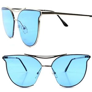 60b3553e0afe Details about Modern Elegant Design Classic Cat Eye Frame Chic Womens  Silver   Blue Sunglasses