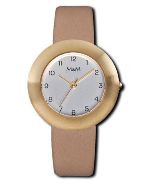 M&M Damenuhr Lederband M11828-913 Best Basic goldplattiert