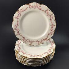 """SET 8 Haviland New York Varenne 10-3/8"""" Dinner Plate Swag Pink Roses Gold Trim"""