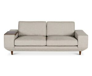 Details about SALE:Scandinavian Design Vieda Sofa with extra tray for the  arms