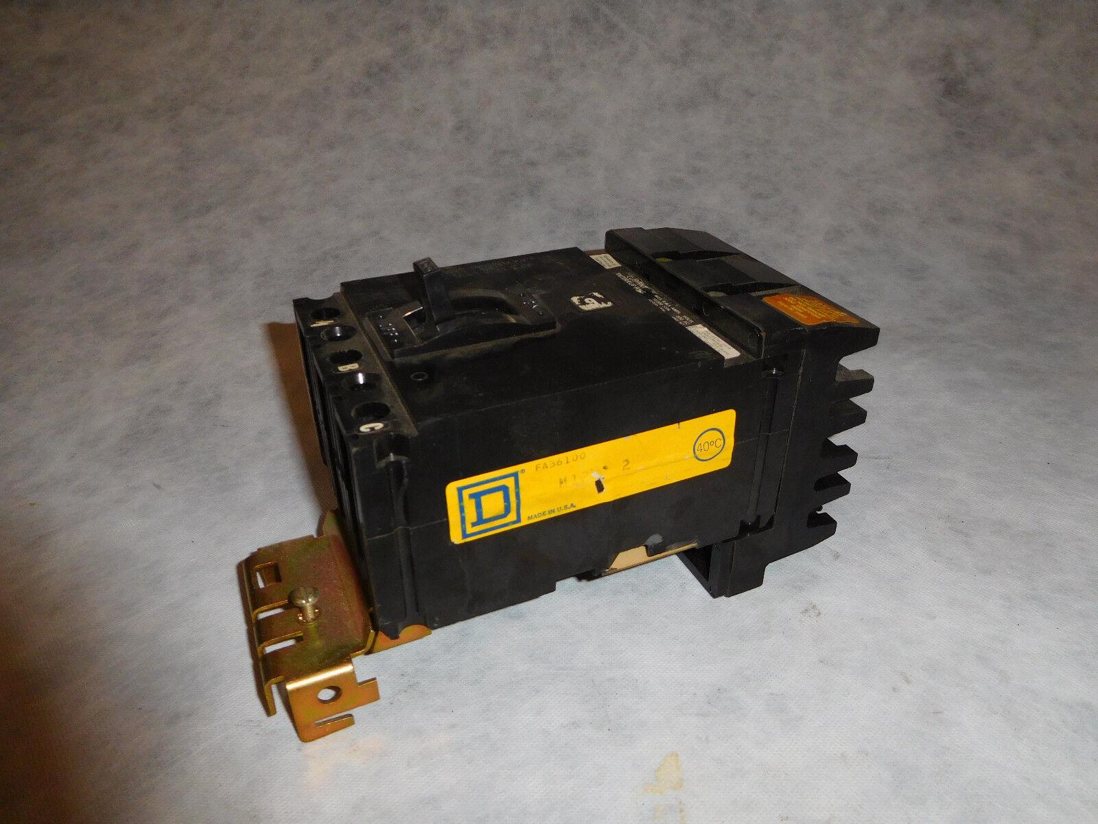 Square D FA36100 100Amp I-Line Circuit Breake 3 Pole 600V