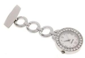 NEW-Henley-Nurses-Fob-Watch-set-Diamante-Crystals-Chrome-Beauticians-Hairdresser