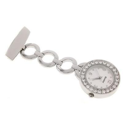 NEW Henley Nurses Fob Watch set Diamante Crystals Chrome Beauticians Hairdresser