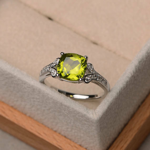 14K White gold 2.95 Ct Cushion Natural Peridot Diamond Gemstone Ring Size 6 7