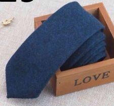 New Vintage Skinny Blue Tweed Wool Tie. Excellent Quality & Reviews. Uk