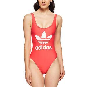 Dettagli su Adidas Originals 3 Strisce Trefoil Costume Intero da Bagno Rosso Rosa